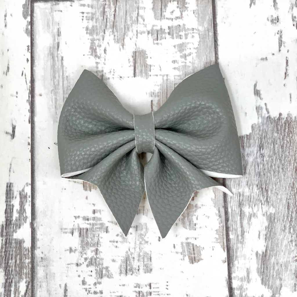 Gray Leather Lucy Bow