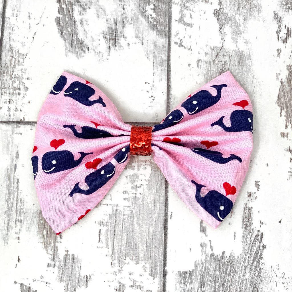 Whale Hearts Cotton Bow