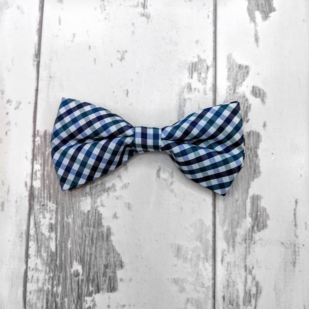 Navy and Hunter Plaid Cotton Bow