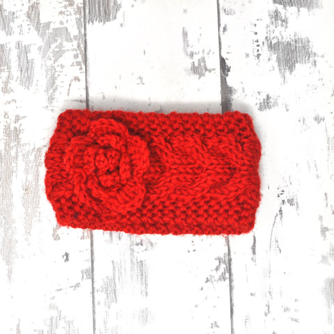 Red Flower Knitted Headband