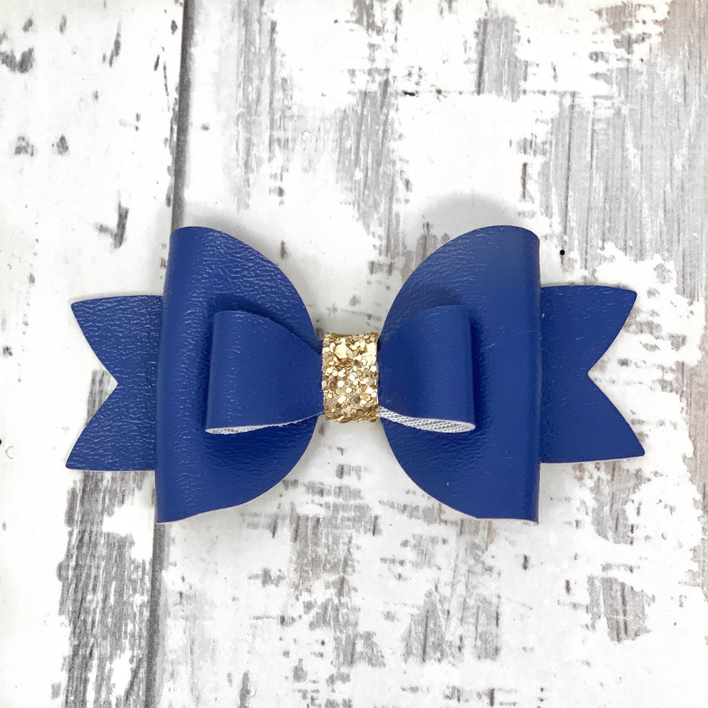 Galaxy Blue Leather Adilyn Bow