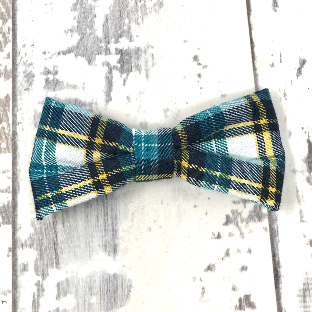 Teal Plaid Cotton Bow