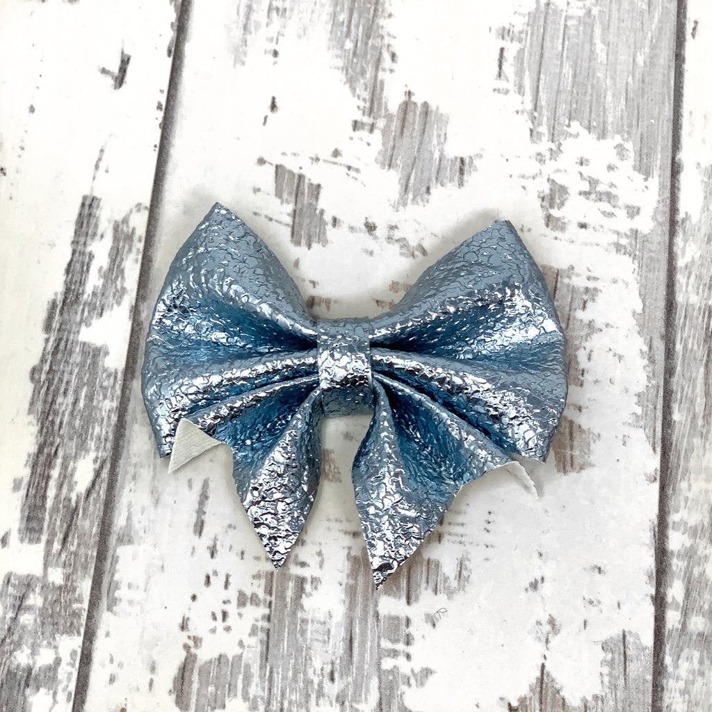 MINI Blue Crackled Metallic Lucy Bow