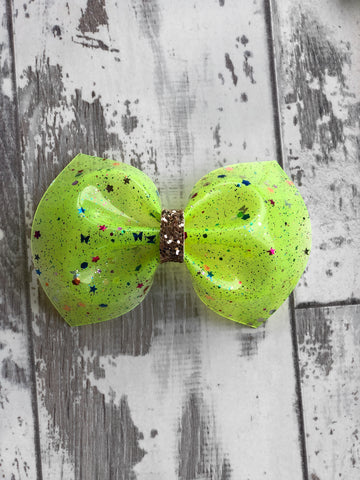 Neon Yellow Glitter Pool Charlotte bow