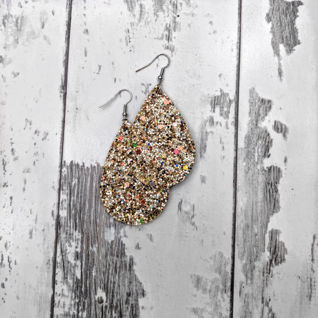 Tear Drop Gold Fetti Glitter Earrings