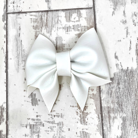 White Leather Lucy Bow