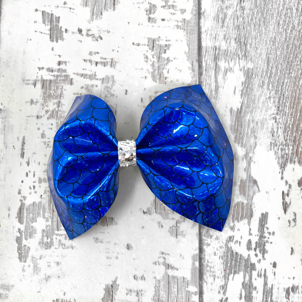Metallic Blue Mermaid Charlotte Bow
