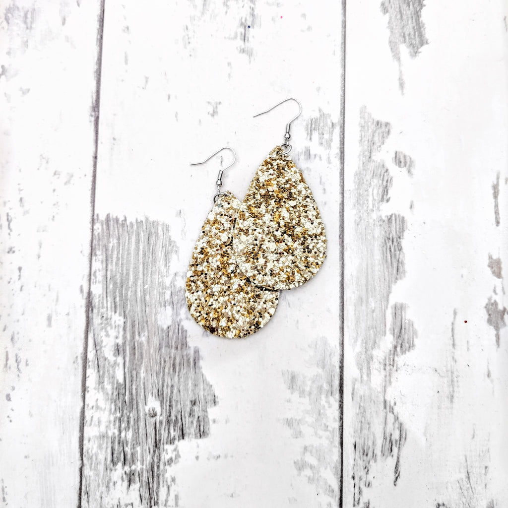 Tear Drop Pale Gold Glitter Earrings