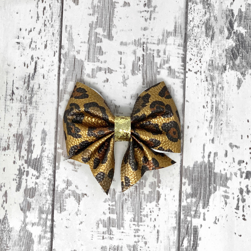 Metallic Leopard Lucy Bow