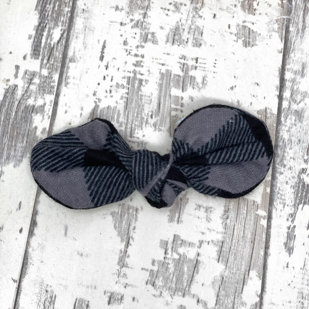 Gray and Black plaid Knotted Bow