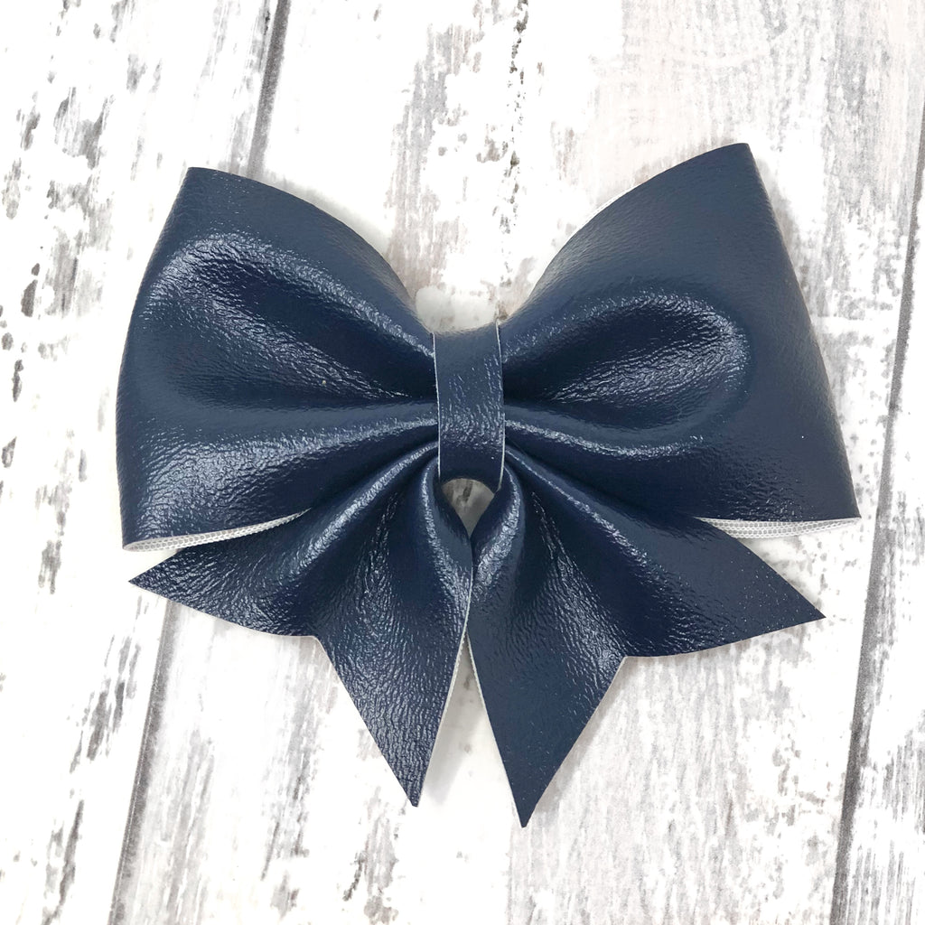Navy Leather Lucy Bow