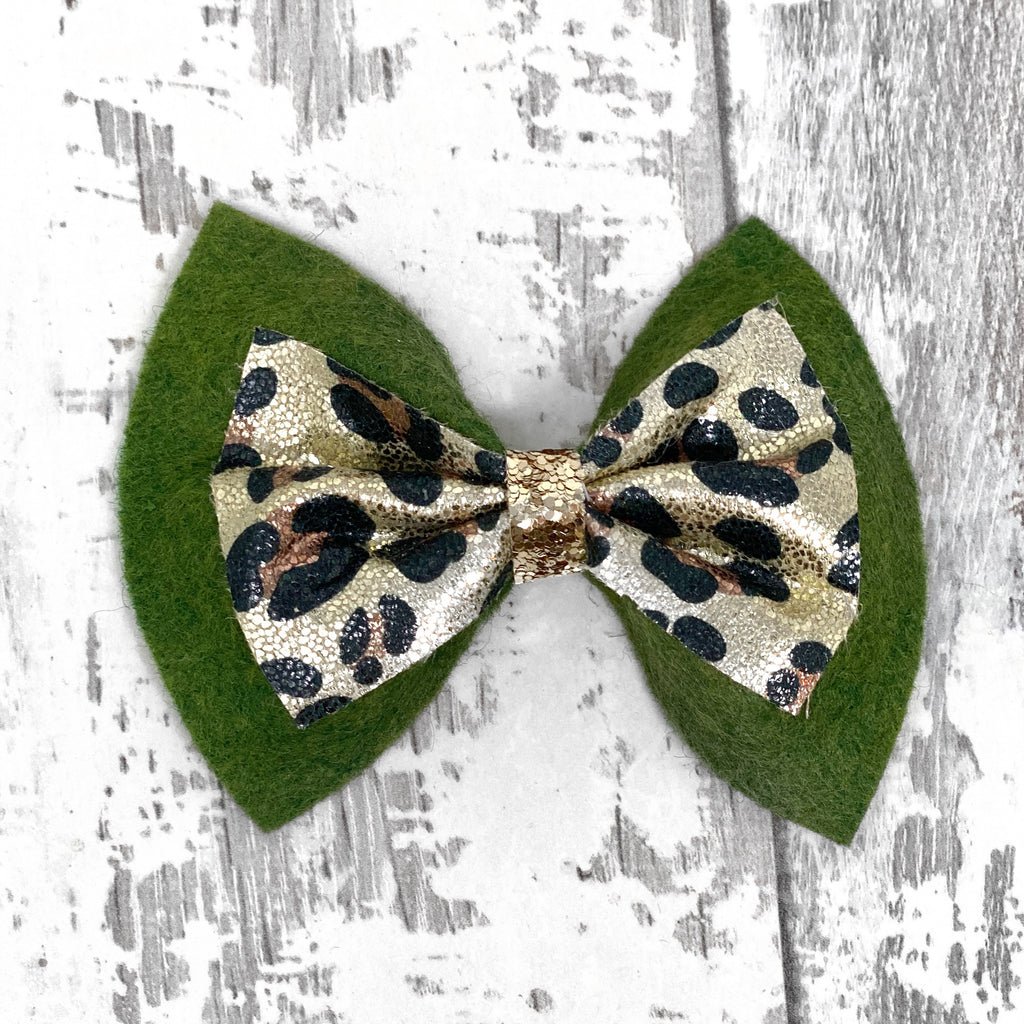 Olive and Leopard Double Charlotte bow