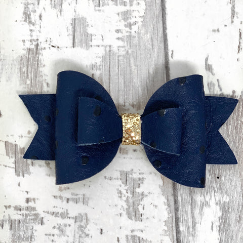 Navy Ostrich Adilyn Bow