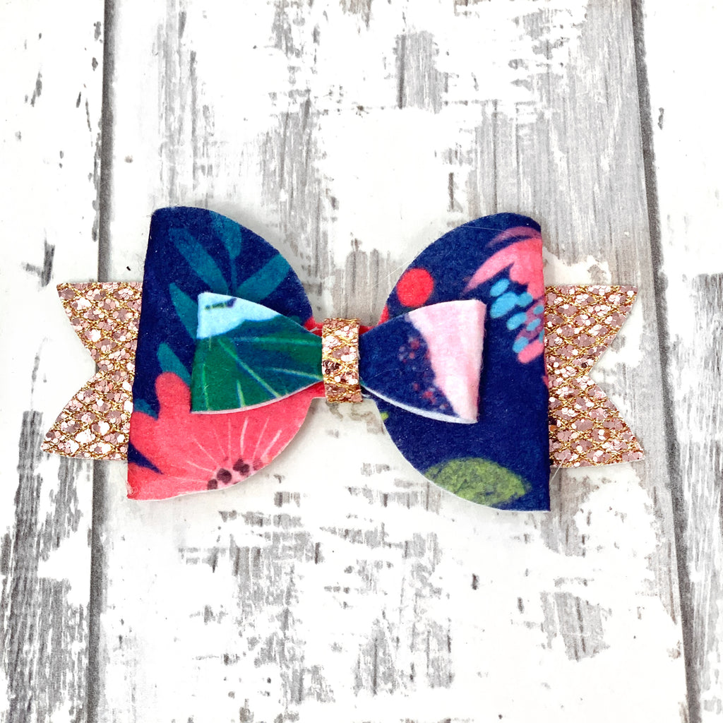 Navy Floral Adilyn Bow
