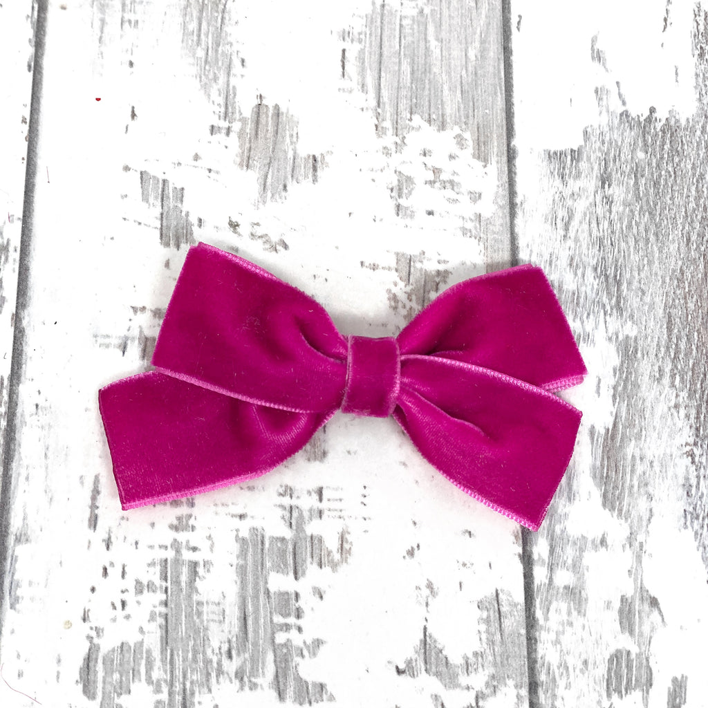 Raspberry Velvet Sailor Bow