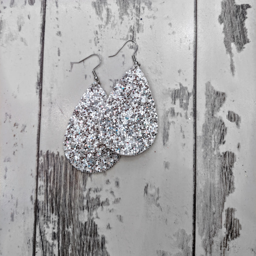 Tear Drop White Glitter Earrings