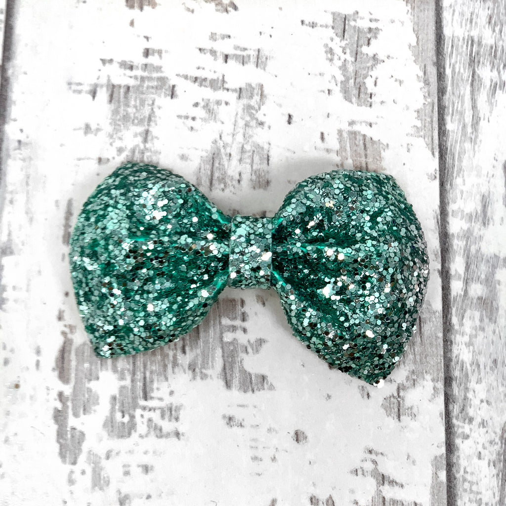 MINI Mint Glitter Charlotte bow