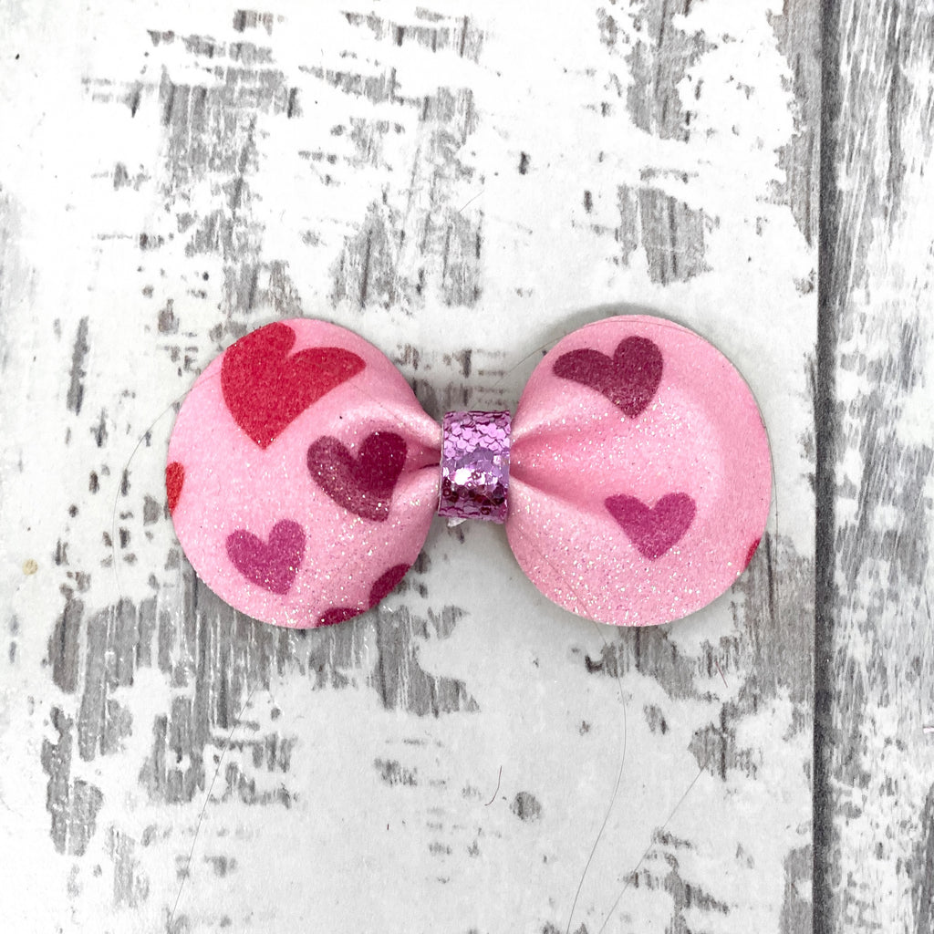 Pink Hearts Gracie Bow