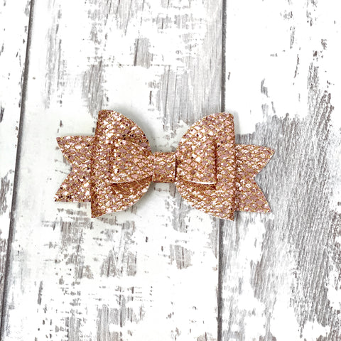 Rose Gold Glitter Adilyn Bow