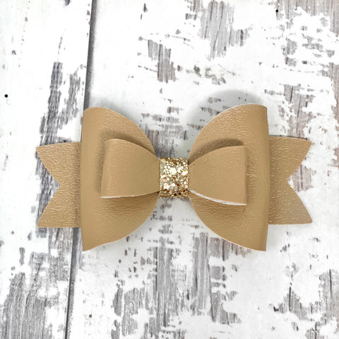 Sugar Almond Leather Adilyn Bow