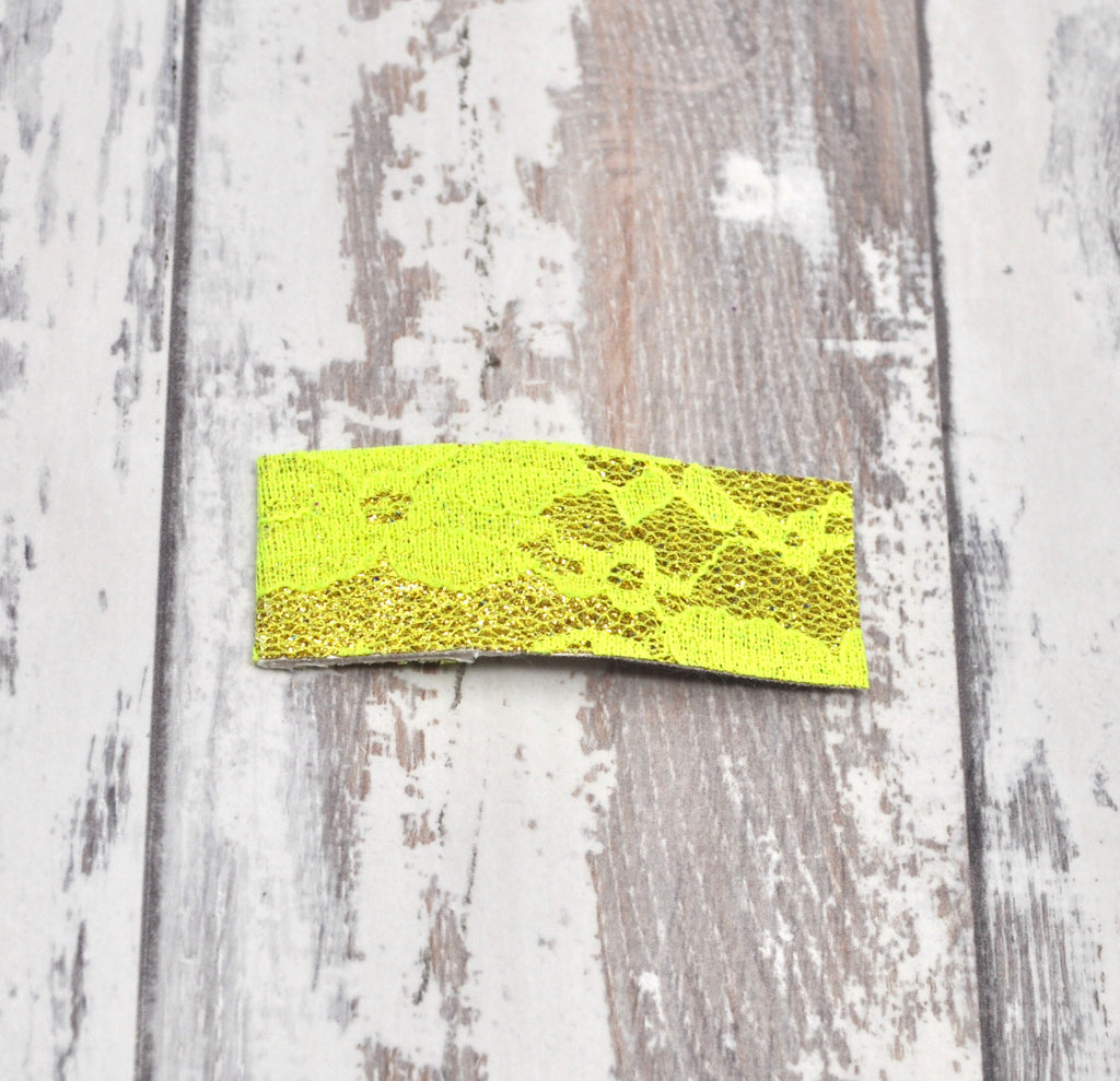 Neon Yellow Lace Snap Clip