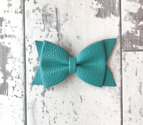 Teal Daphne Vegan Leather Bow