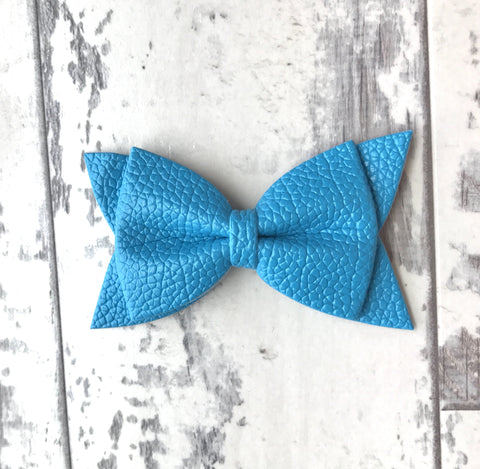 Ocean Blue Daphne Vegan Leather Bow
