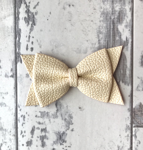 Cream Daphne Vegan Leather Bow