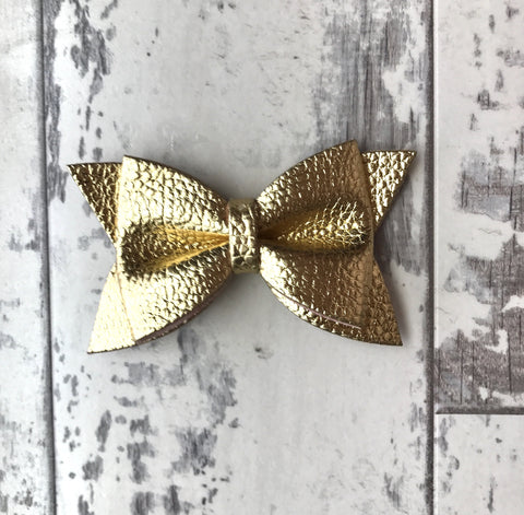 Gold Daphne Vegan Leather Bow