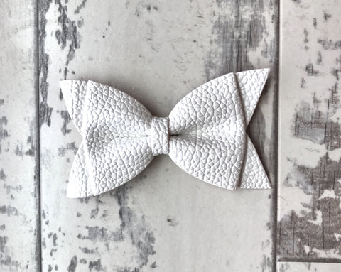 White Daphne Vegan Leather Bow