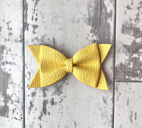 Sunburst Yellow Daphne Vegan Leather Bow
