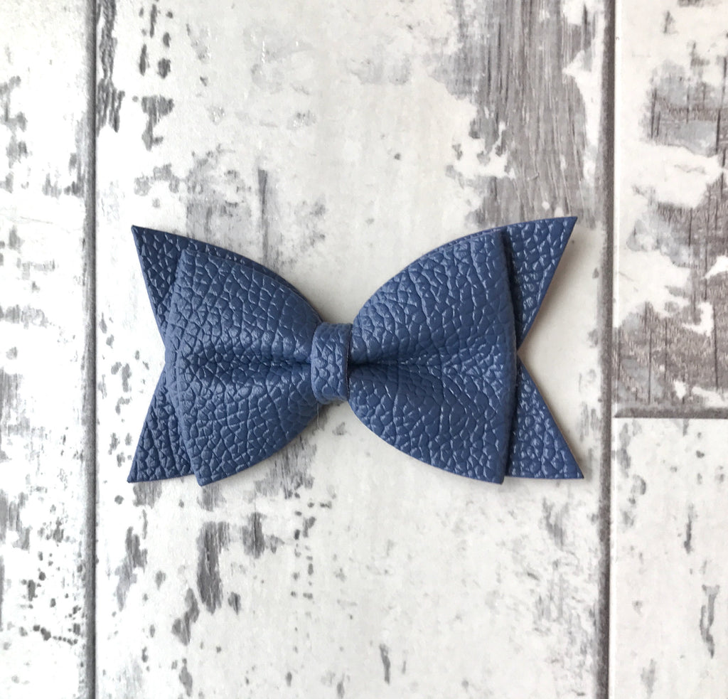 Navy Daphne Vegan Leather Bow