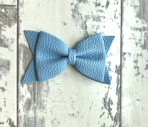 Sky Blue Daphne Vegan Leather Bow