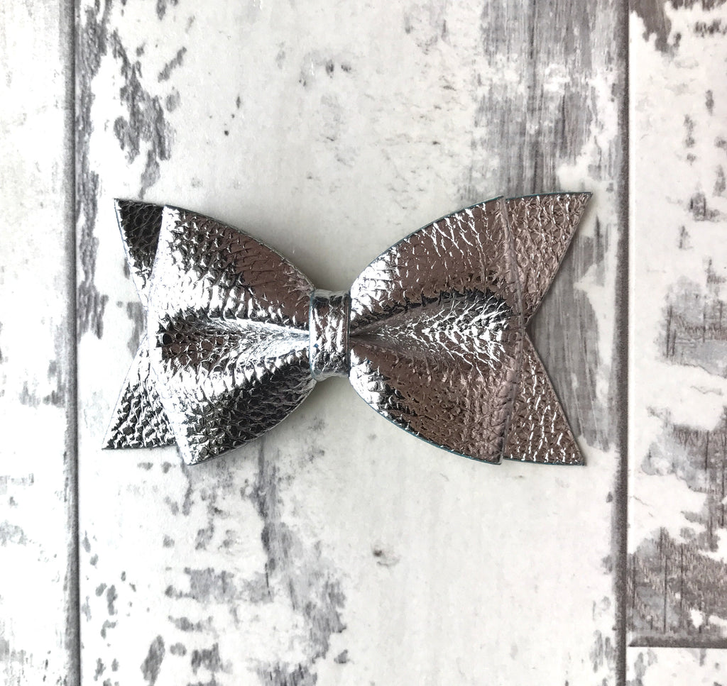 Silver Daphne Vegan Leather Bow