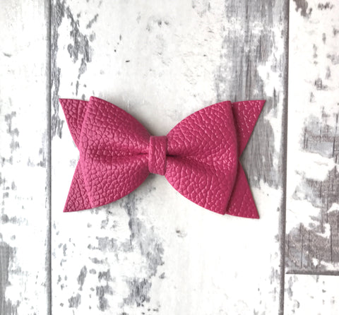 Magenta Daphne Vegan Leather Bow