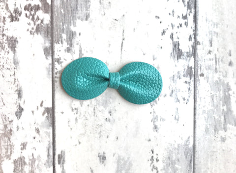 Teal Gracie Vegan Leather Bow