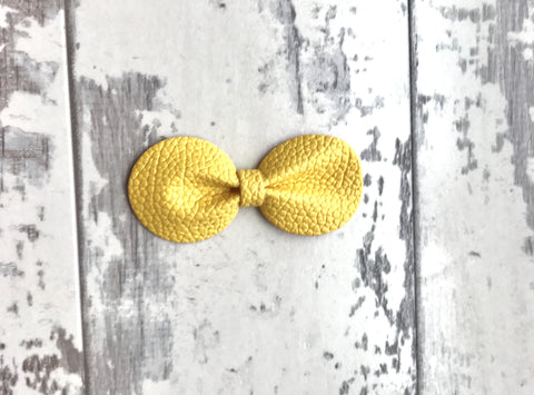 Sunburst Yellow Gracie Vegan Leather Bow