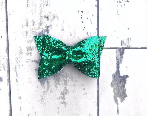 Emerald Green Glitter Daphne Bow
