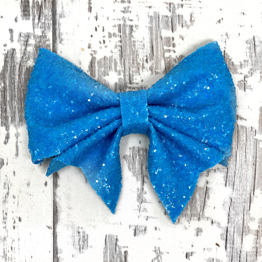 Electric Blue Glitter Lucy Bow