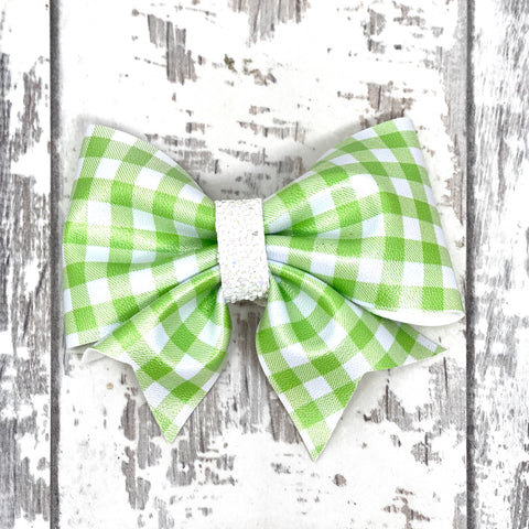 Lime Gingham Lucy Bow