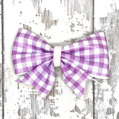 Lavendar Gingham Lucy Bow