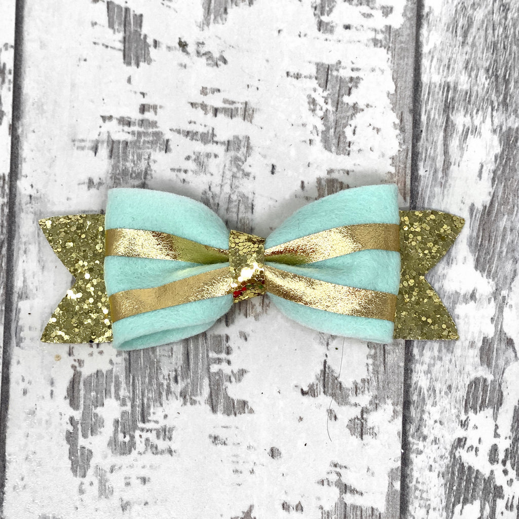 Mint and Gold Striped Claire Bow