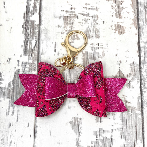 Fuchsia Laced Adilyn Bow Keychain