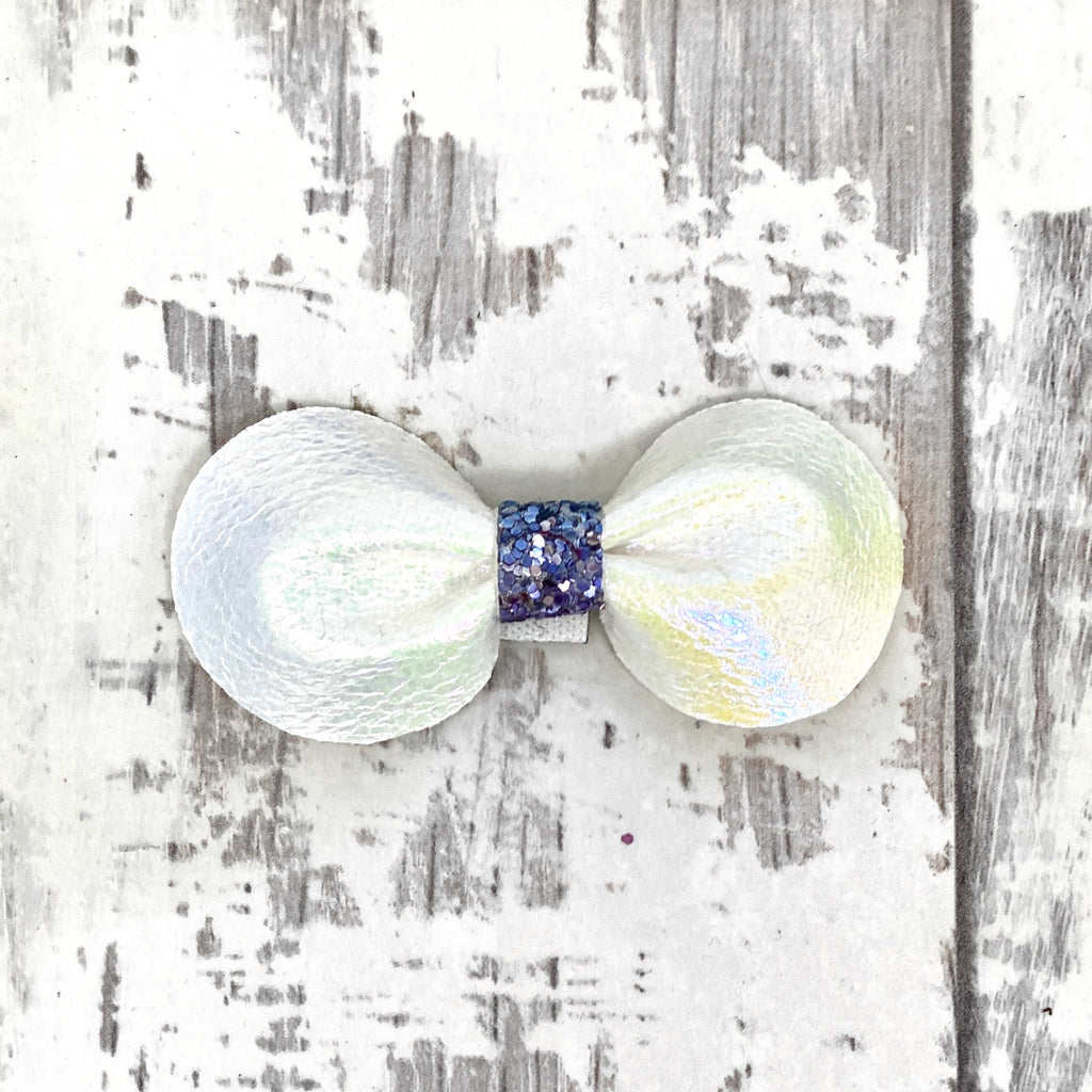 White Iridescent Gracie Bow