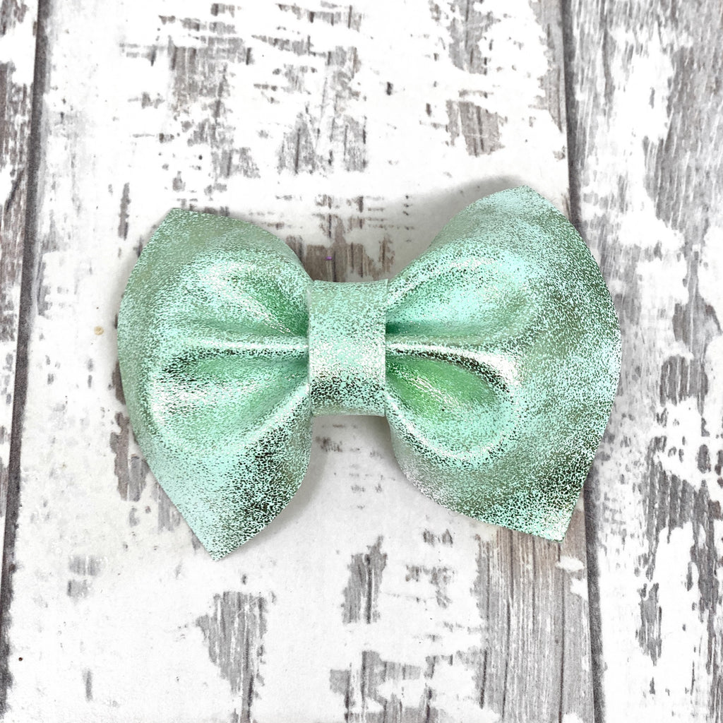 Green Metallic Foil Charlotte Bow