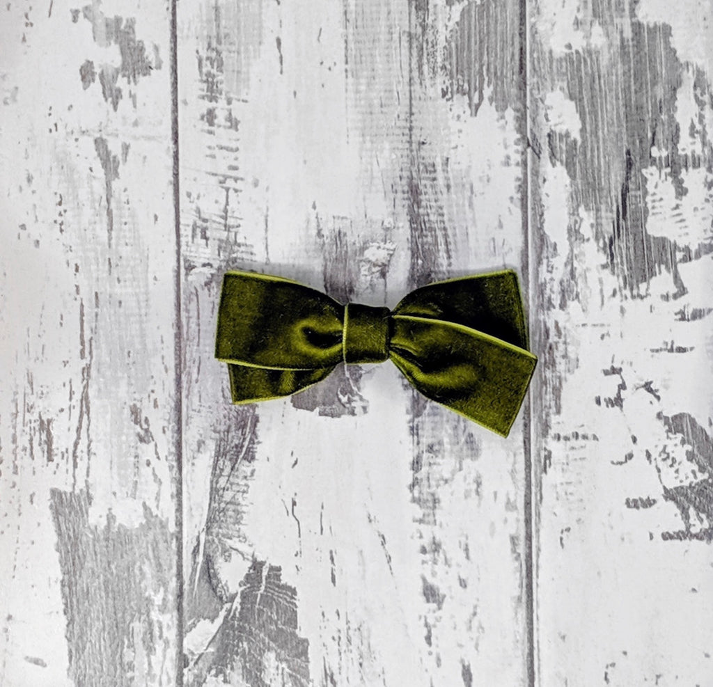 Olive Green Velvet Sailor Bow