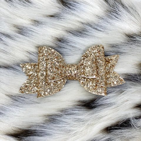 Pale Gold Glitter Adilyn Bow