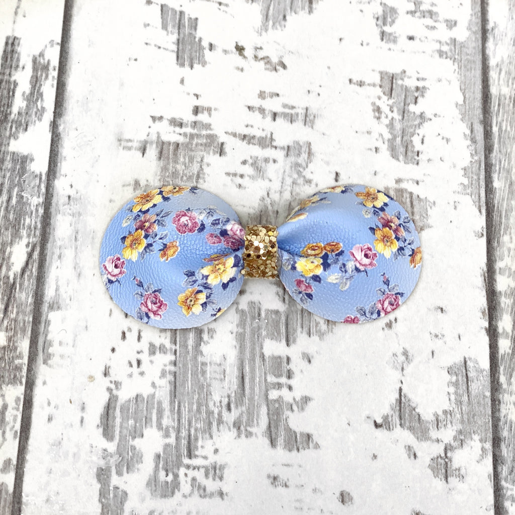 Powder Blue Fleurs Gracie Bow