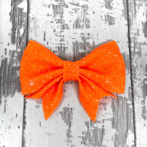 Tangerine Glitter Lucy Bow