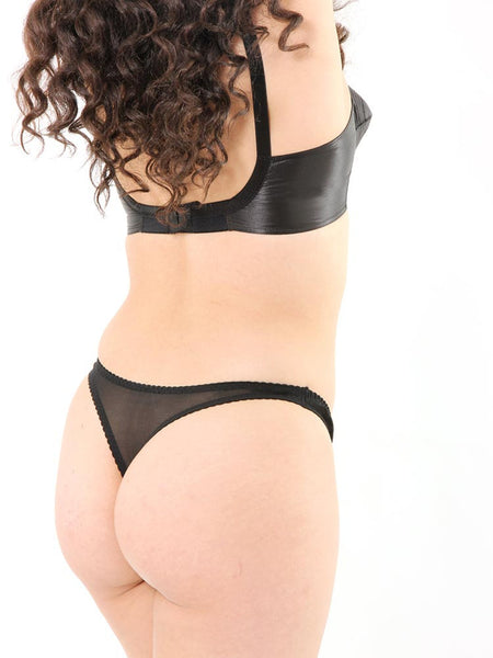 Maitresse Black Satin Thong